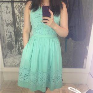 Anthropologie Dreamy Lace Dress in Minty green